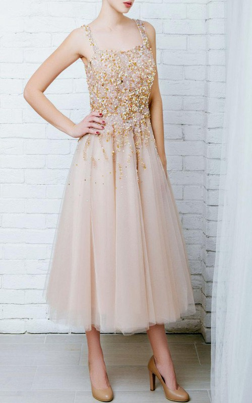 Tulle Beaded Embroideries Ball-Gown Princess Lace Dress