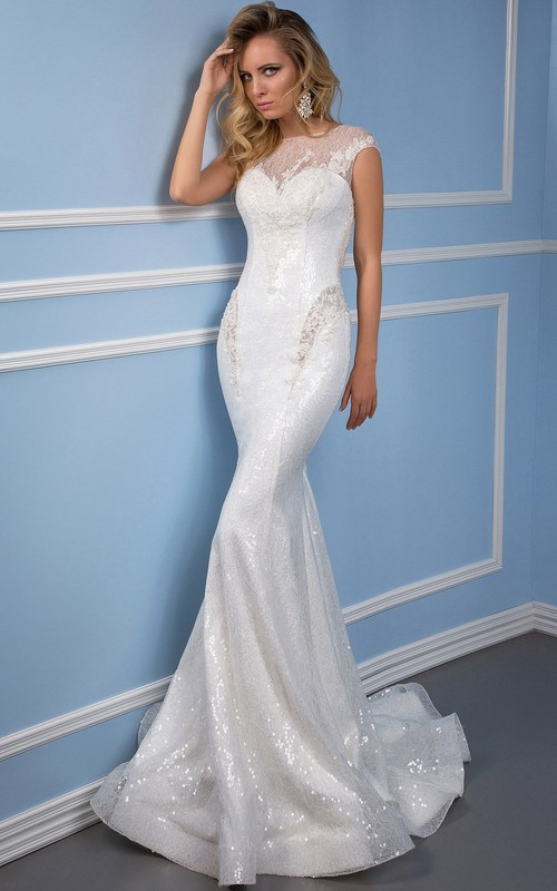 Bateau Lace Cap-sleeve Mermaid Wedding Dress With Illusion And Appliques