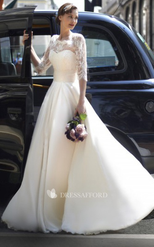 Half Sleeve Illusion A-line Wedding Dress With Lace