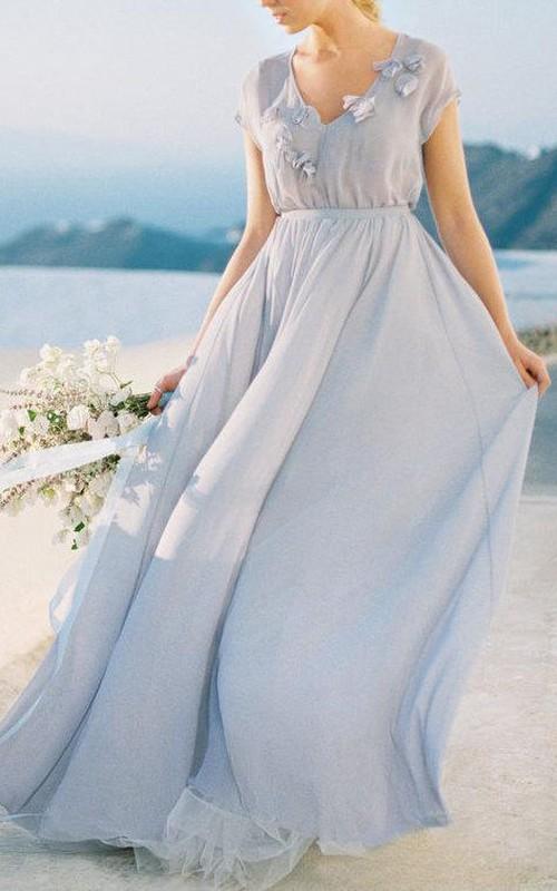 V-neck Short Sleeve Tulle Chiffon long Dress With Flower