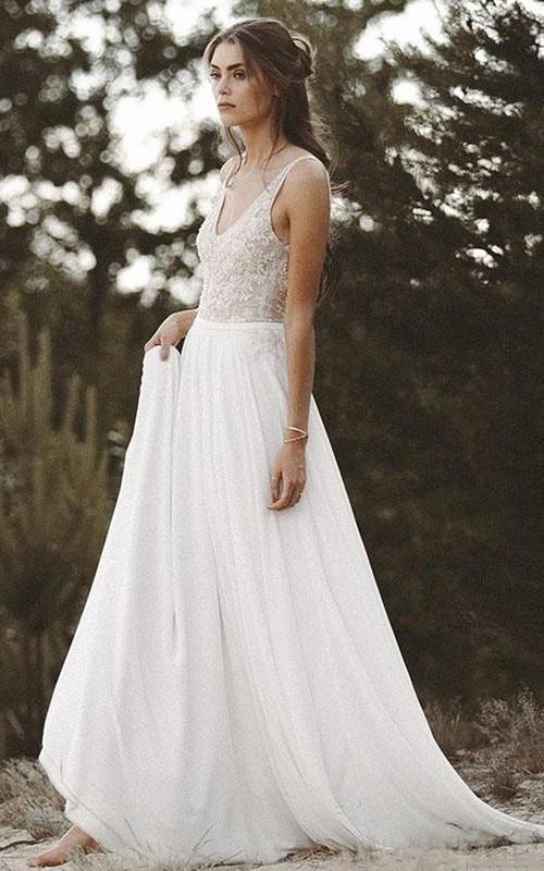 V-neck Chiffon Lace Brush Train Low-V Back A Line Wedding Dress with Beading