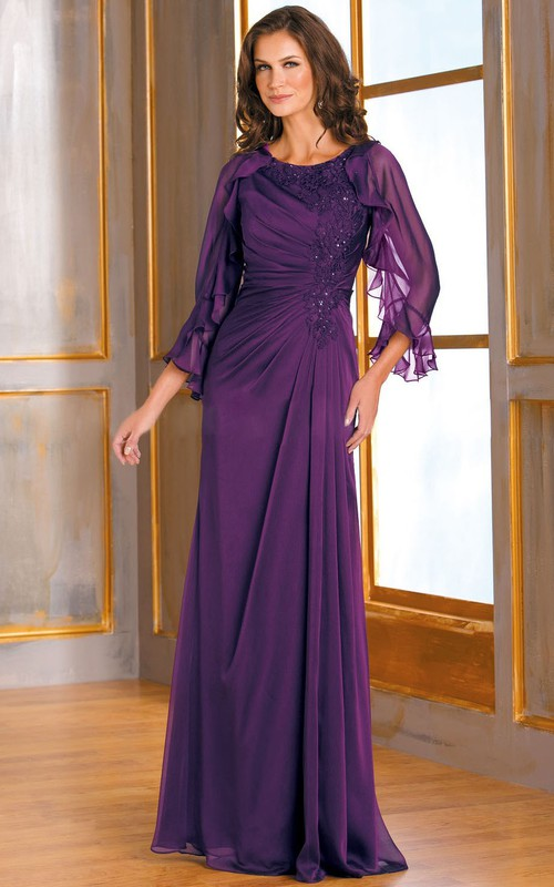Scoop-neck Ruffed Long Sleeve Mother of the Bride Dress With Ruching And Cape