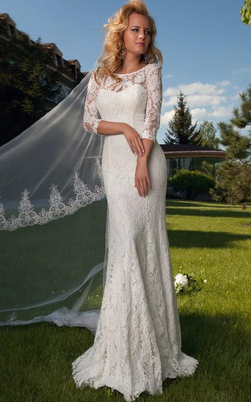 Scoop-neck Lace Half Sleeve Sheath Wedding Dress