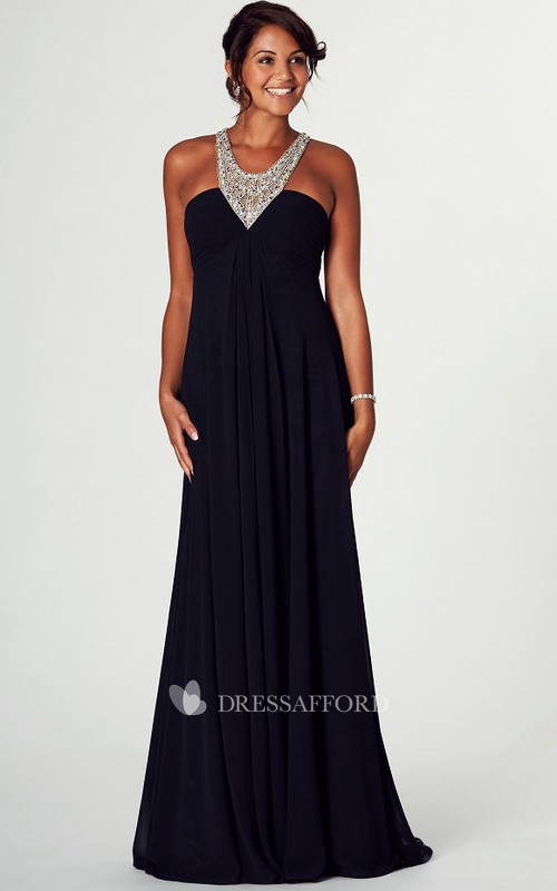 jeweled V-neck Ruched Jersey long Prom Dress With Beading