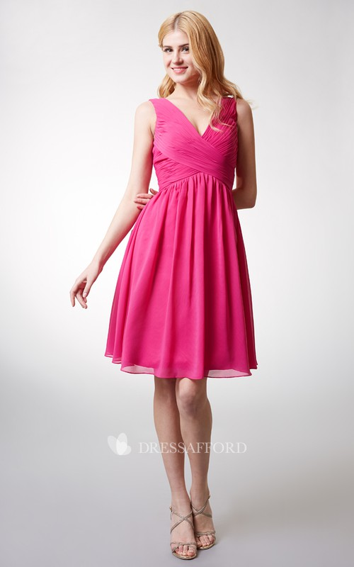 Chiffon Knee-length V-neck Sleeveless Bridesmaid Dress With Ruching