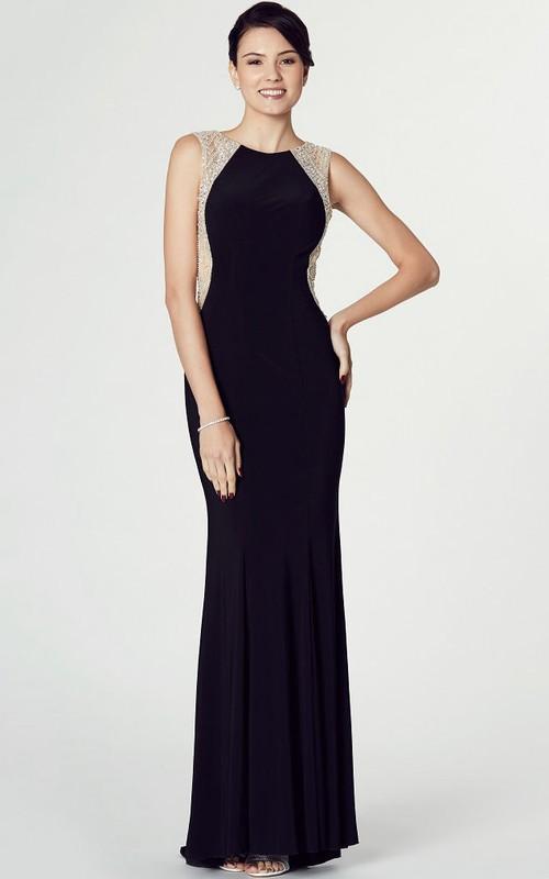 Sleeveless Beaded Scoop Neck Jersey Prom Dress With Keyhole