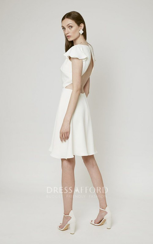Stylish Knee-length Wedding Dress With Open Back
