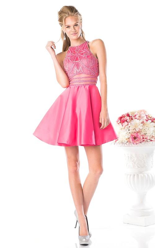 A-Line Beaded Floor-Length Jewel-Neck Satin Sleeveless Keyhole Dress