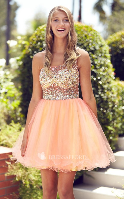 Multi-Color Tulle Jeweled A-Line Short Straps Mini Sleeveless Dress