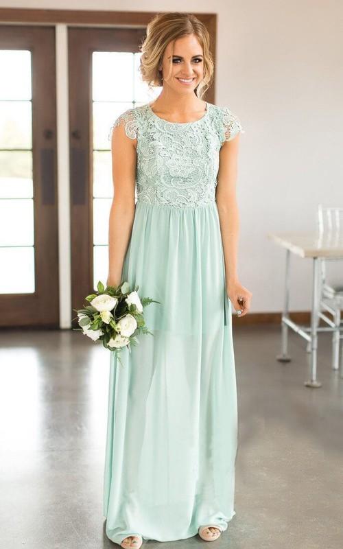Bateau Cap-sleeve Keyhole Back Ruched Bridesmaid Dress