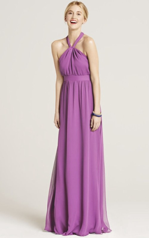 Haltered Chiffon Lace Bridesmaid Dress With bow