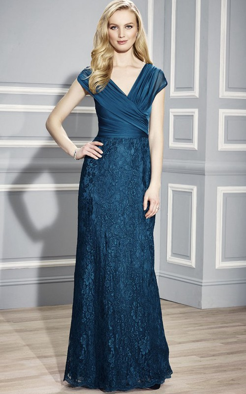 V-neck cap Ruched Lace Mother of the Bride Dress With Zipper