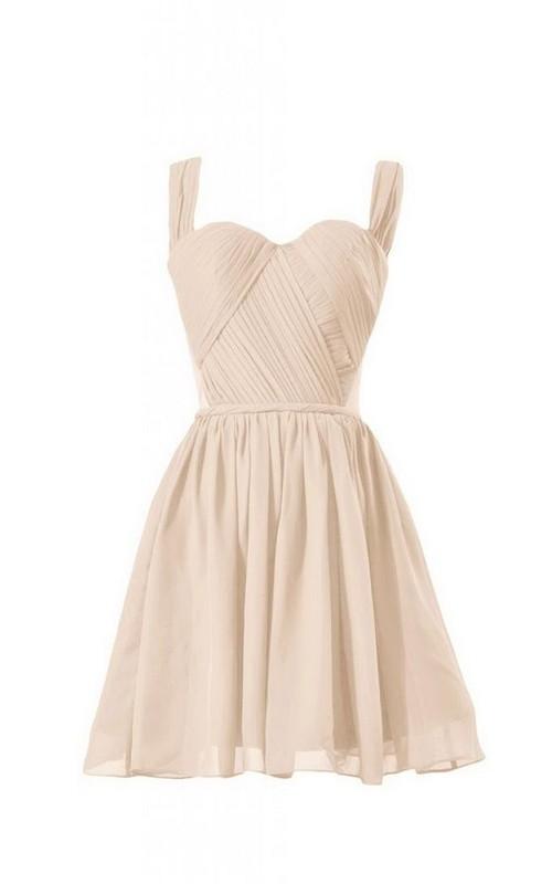 A-Line Chiffon Sweetheart Sleeveless Short Dress