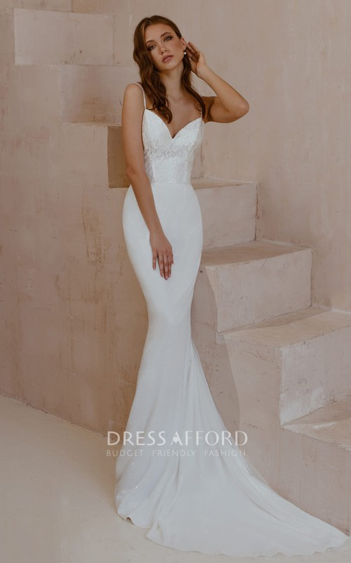 Simple Sexy Sleeveless Mermaid Satin Lace Spaghetti Wedding Dress