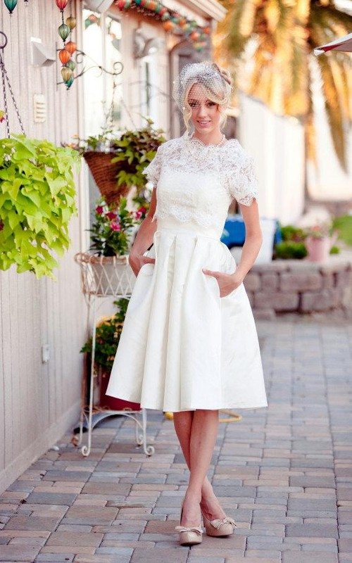 Bridal Lace Button Back Short-Sleeve Scalloped Dress