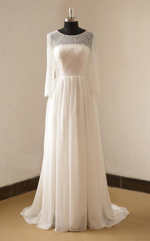 Chiffon Open Back Long-Sleeve Jewel-Neckline Dress