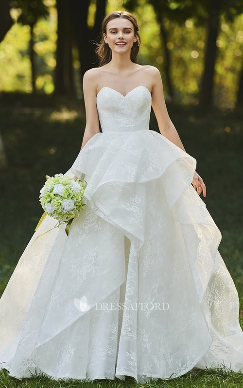 Sleeveless Open Back Sweetheart Cascading Ruffles Lace Bridal Ball Gown