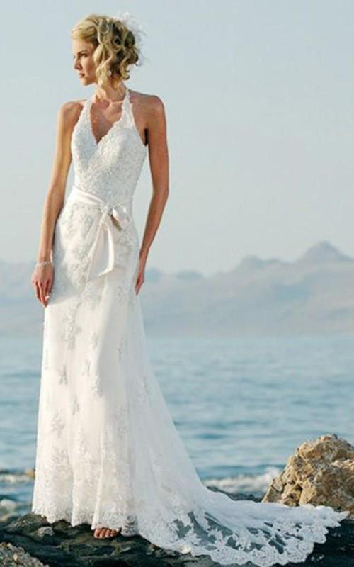 Halter Wedding Column Sheath Lace Dress