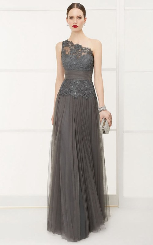 One-shoulder Sleeveless Tulle Appliqued Dress With Pleats