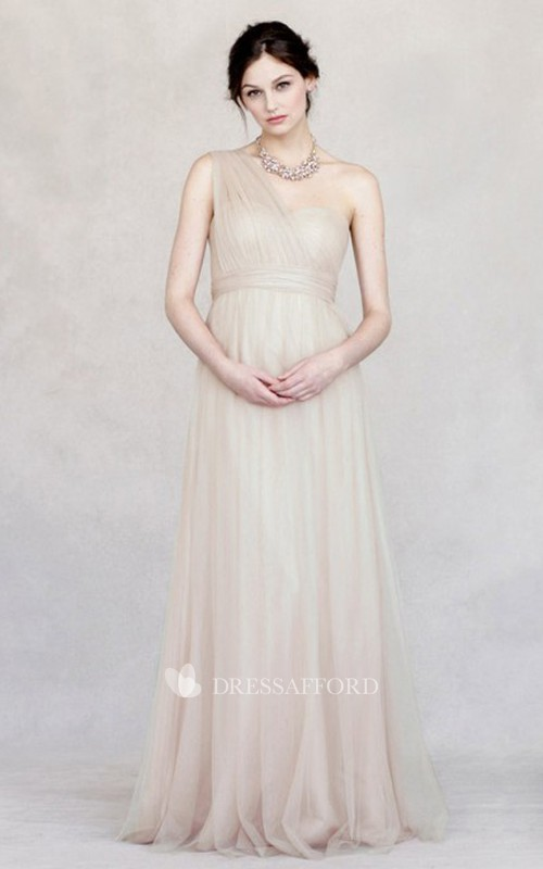 One-shoulder Tulle Bridesmaid Dress With Ruching