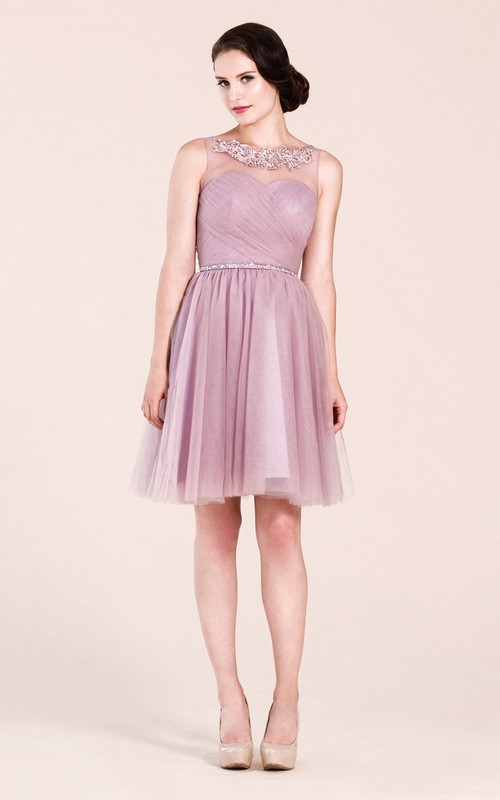 Bateau Sleeveless Tulle Criss-cross Ruched short Bridesmaid Dress With Low-V Back