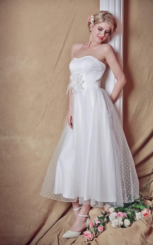 A-Line Bridal Strapless Backless 3-4-Length Dress