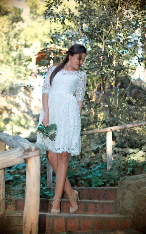 Ankle-Length Half-Illusion-Sleeve Jewel Bridal Dress