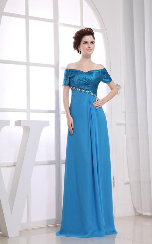 Floor-Length Rhinestone Ruched Off-The-Shoulder Dress