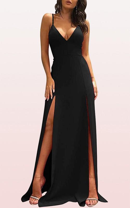 Modern V-neck Satin A Line Sleeveless Guest Dress With Split Front