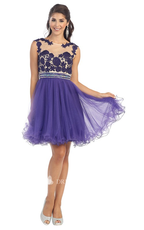 A-Line Illusion Pleated Appliqued Short Mini Sleeveless Scoop-Neck Tulle Dress