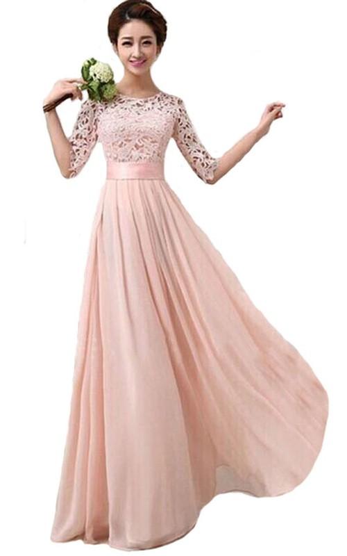 Floor-Length Lace Bodice Belt Long Scoop-Neck Bridesmaid Gown