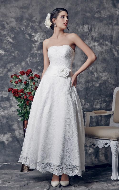 Sleeveless Floral Lace Sweetheart Elegant 3-4-Length Dress