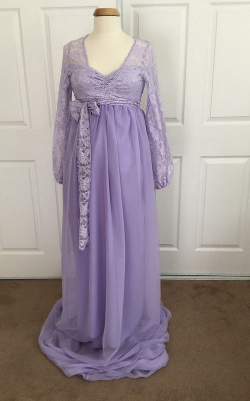 A-line V-neck Ruched Removable Skirt Long Sleeve Brush Train Chiffon Lace Maternity Dress