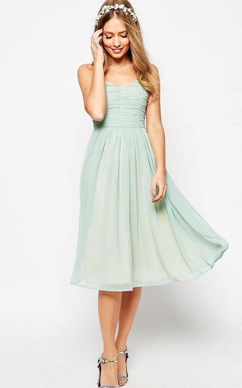 Spaghetti Sweetheart Ruched Chiffon Tea-length Dress With Ruching