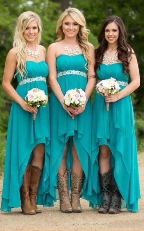 A-line Sleeveless High-low Sweetheart Chiffon Bridesmaid Dress with Zipper Back