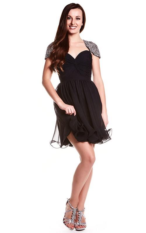 A-Line Short Cap-Sleeve Sweetheart Beaded Chiffon Prom Dress With Keyhole Back