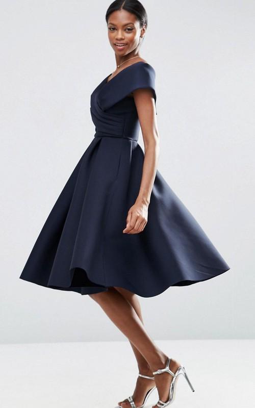 A-Line V-Neck Knee-Length Ruched Satin Bridesmaid Dress