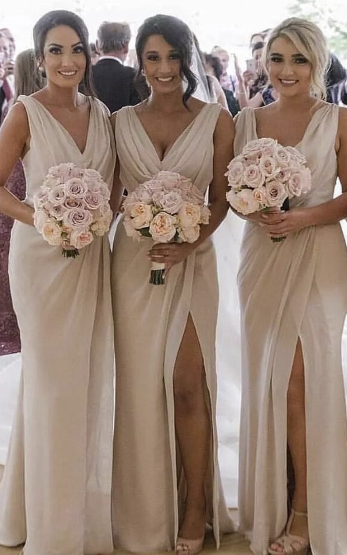 Sexy Sleeveless Sheath Deep V-neck Bridesmaid Dress With Front Split And Ruching