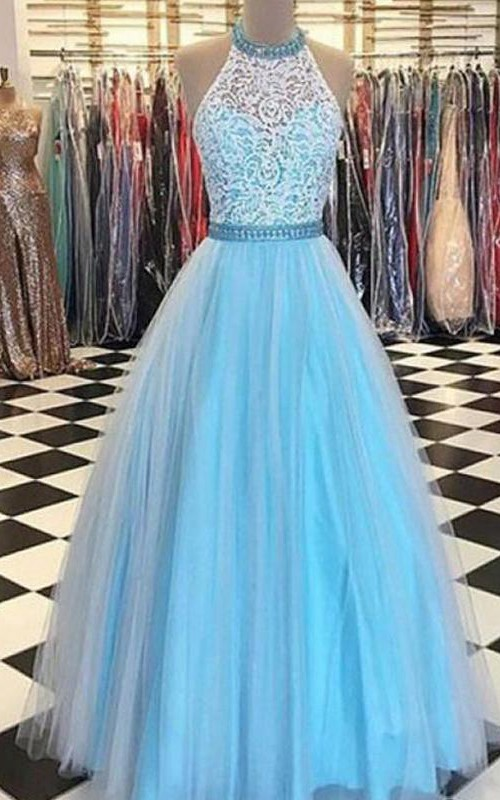 High Neck Lace Tulle Sleeveless Floor-length Appliques Lace Pleats Dress