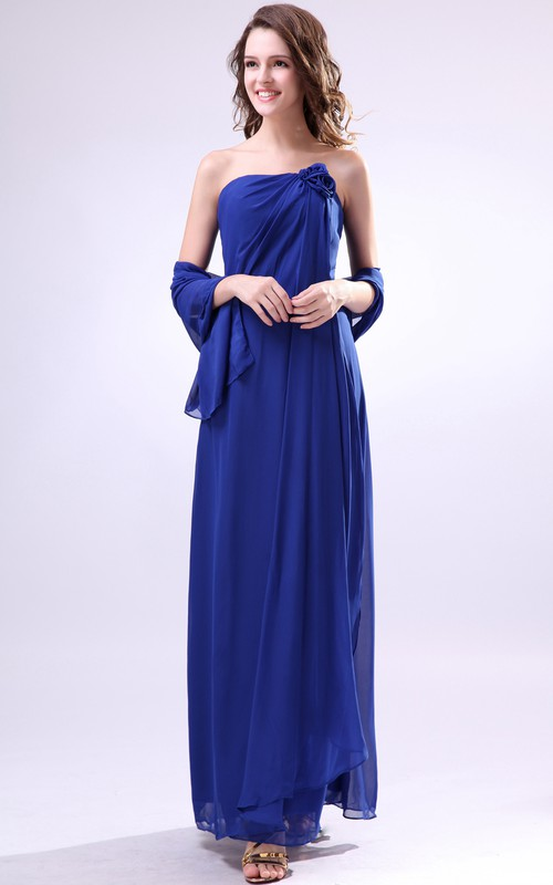 Flattering Ankle-Length Dress With Ruched Cap-And Flower
