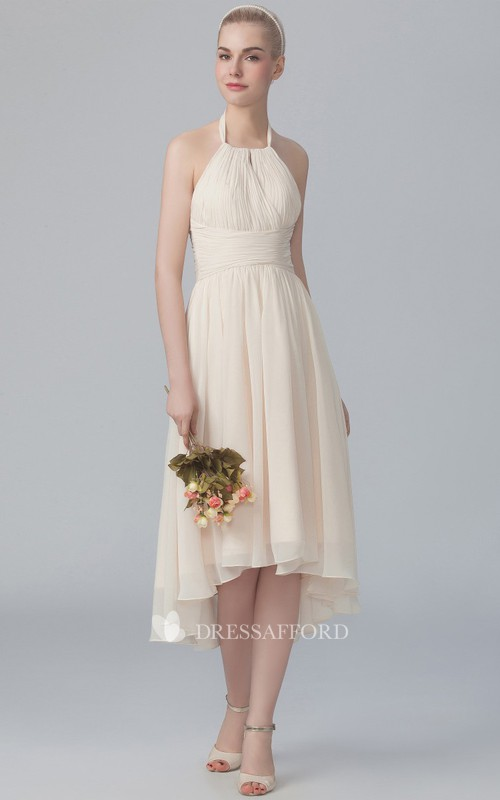 Haltered Chiffon High-low Sleeveless Ruched Bridesmaid Dress