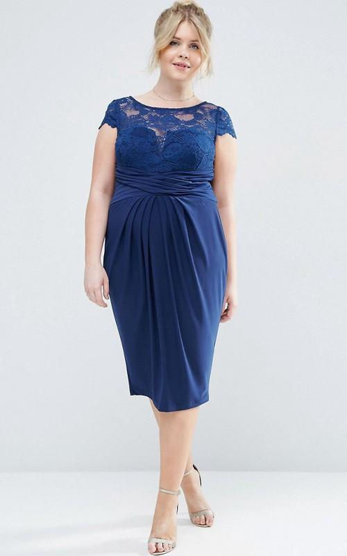 Tea-Length T-Shirt Sleeve Bateau Neck Appliqued Chiffon Bridesmaid Dress