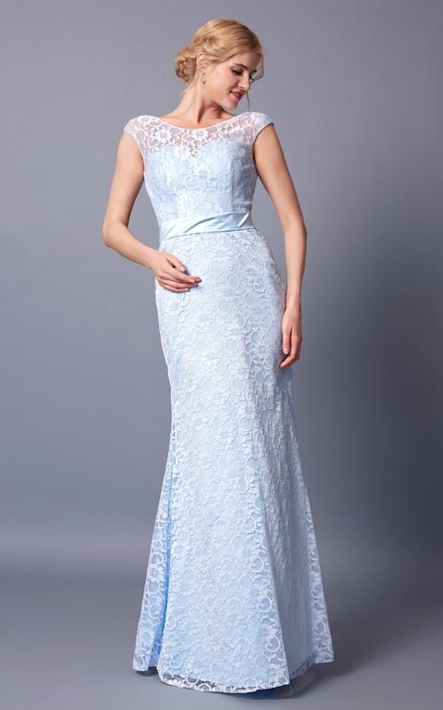 Bateau-Neckline Deep V-Back Cap-Sleeved Radiant Lace Gown