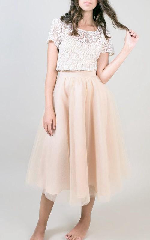 Bateau-neck Short Sleeve Tea-length A-line Dress With Lace top