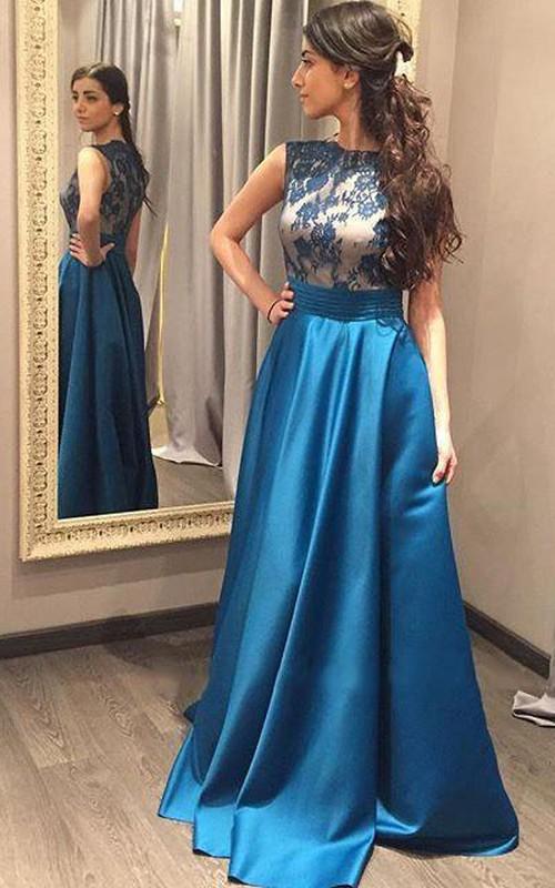 Floor-Length Satin Long A-Line Lace Sleeveless Dress