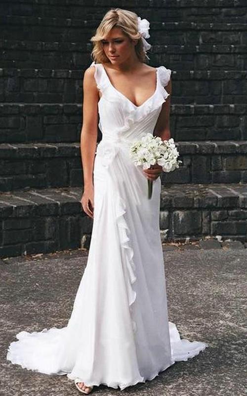 V-neck Chiffon Cap Short Sleeve Wedding Gown