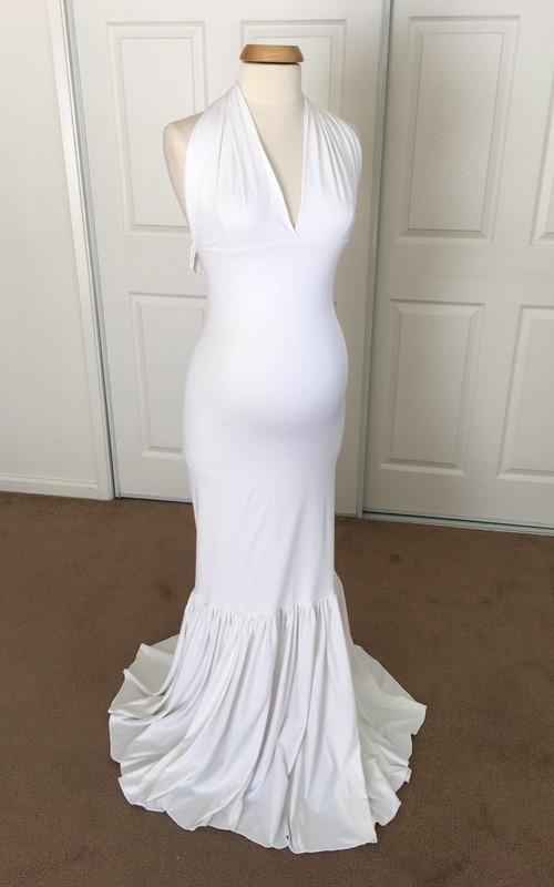 Mermaid V-neck Pleated Ruched Sleeveless Brush Train Jersey Maternity Dress