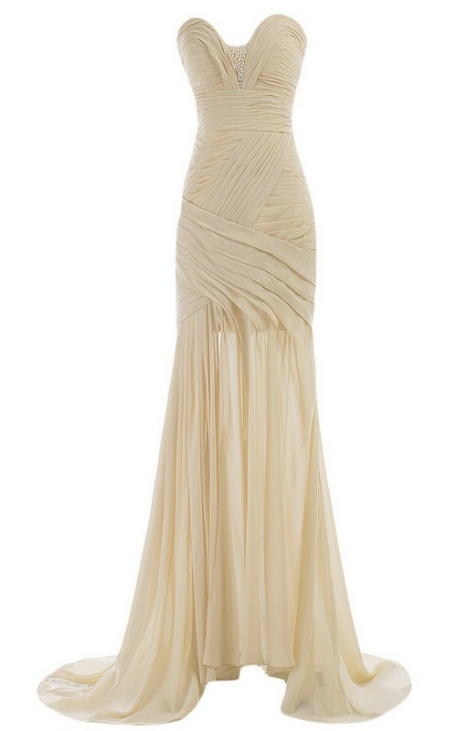 Brush-Train Ruched Rhinestone Sleeveless Sweetheart Gown