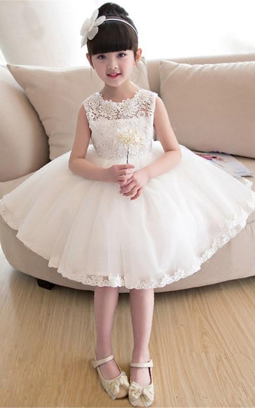 Short Lace and Tulle Bateau Sleeveless Flower Girl Dress