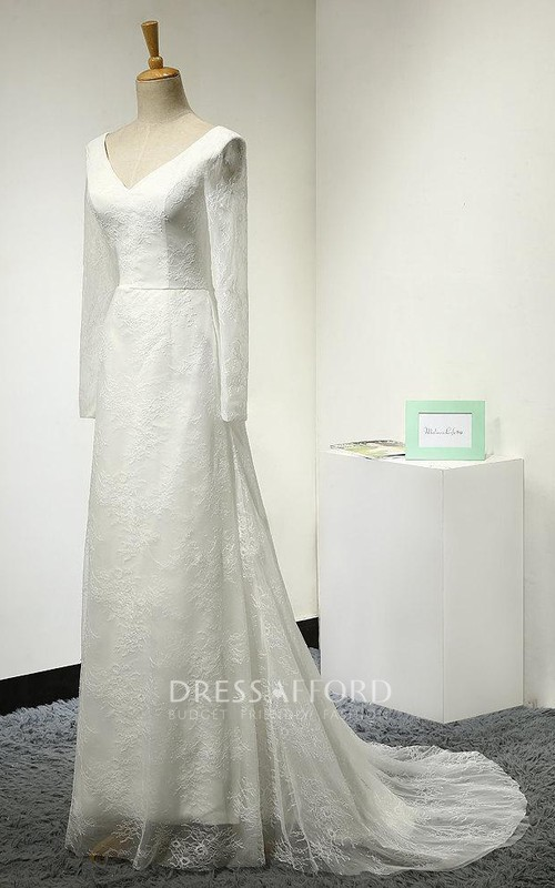 Long-Sleeve Tulle V-Neckline A-Line Lace Court-Train Dress